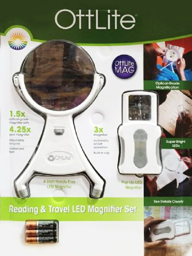 OttLite Reading & Travel LED Magnifier Set with Batteries